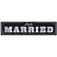 autó rendszám - Just Married, fekete