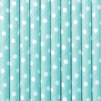 papír szívószál (10 db/cs) – pöttyös, világoskék