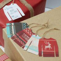 karácsonyi ajándékcímke (12 db/cs) - pulcsi