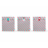 karácsonyi ajándéktasak (3 db/cs) - piros és zöld csíkos