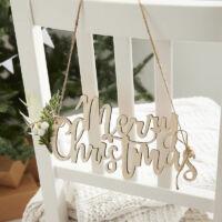 Merry Christmas függő dísz fából (4 db/cs)