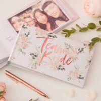lánybúcsú fotóalbum - Team Bride, virágos