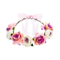 virágkoszorú fejdísz - rózsaszín