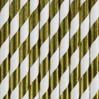 papír szívószál (10 db/cs) – csíkos, arany