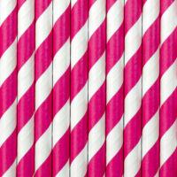 papír szívószál (10 db/cs) - csíkos, pink