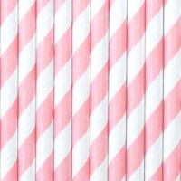 papír szívószál (10 db/cs) - csíkos, rózsaszín