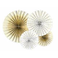 papír rozetta (5 db/cs) - arany és fehér