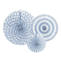 papír rozetta (3 db/cs) - vintage kék