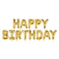 szülinapi fólia lufi - happy birthday, arany