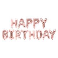 szülinapi fólia lufi - happy birthday, rose gold