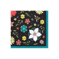 szalvéta 33x33 cm 3 rétegű (20 db/cs) - fekete alapon virágos