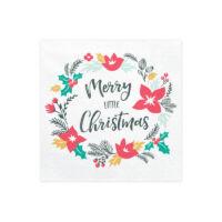 szalvéta 33x33 cm 3 rétegű (20 db/cs) - Merry Christmas koszorú