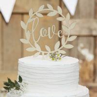 esküvői tortadísz (rusztikus fa) - love