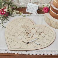 esküvői vendégkönyv (alternatív) - szív alakú fa puzzle