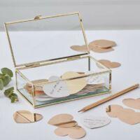 esküvői vendégkönyv (alternatív) - üvegdoboz arany szívekkel