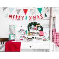 karácsonyi zászlófüzér – piros és zöld csíkos