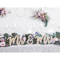 Mr és Mrs fa asztali dekoráció – arany