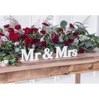 Mr és Mrs fa asztali dekoráció - fehér