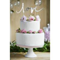 esküvői tortadísz (karton) – love, ezüst