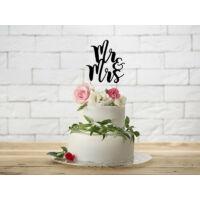 esküvői tortadísz (karton) – Mr és Mrs, fekete