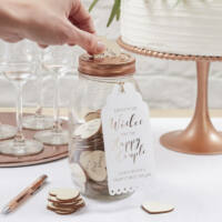 esküvői vendégkönyv (alternatív) - kívánságüveg szívekkel