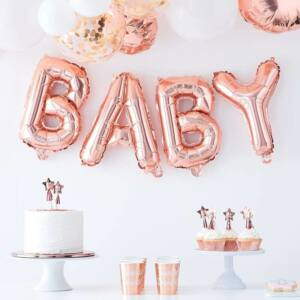 babaváró fólia lufi – Baby, rose gold