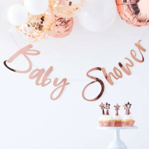 babaváró füzér – Baby Shower, rose gold