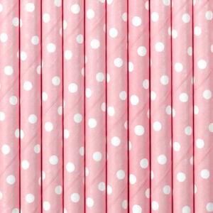 papír szívószál (10 db/cs) – pöttyös, rózsaszín