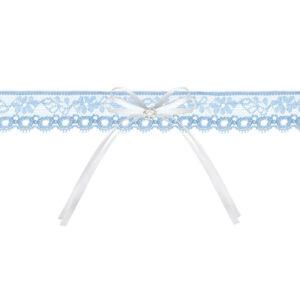 esküvői harisnyakötő – kék csipke, fehér masnival