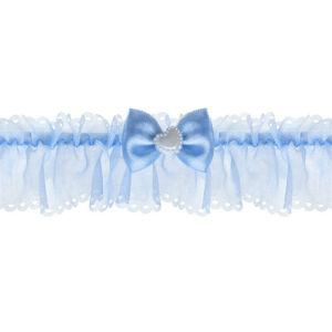 esküvői harisnyakötő – kék organza, kék masnival