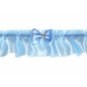 esküvői harisnyakötő – kék szatén, kék masnival