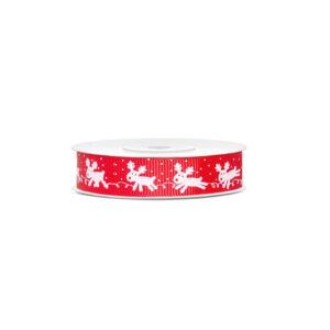 karácsonyi szalag (15 mm x 10 m) – piros, rénszarvas
