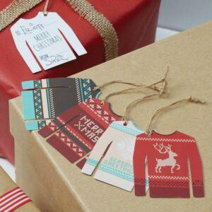 karácsonyi ajándékcímke (12 db/cs) – pulcsi