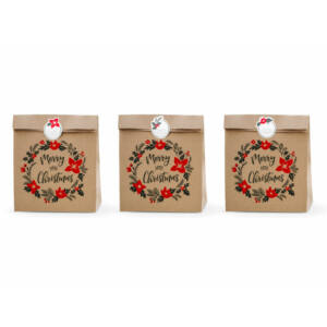 karácsonyi ajándéktasak (3 db/cs) - Merry Christmas koszorú, barna