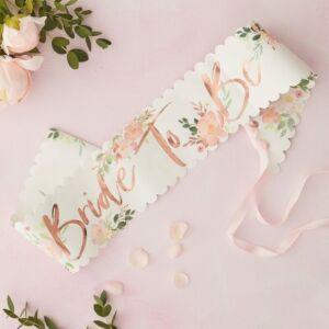 lánybúcsú szalag – Bride To Be, virágos