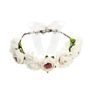virágkoszorú fejdísz – fehér