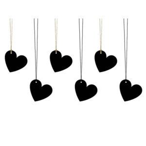ajándékcímke (6 db) – szív, fekete
