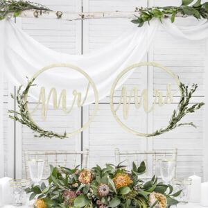 Mr és Mrs függő dekoráció fából