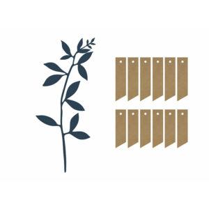 ültetőkártya papír ág levelekkel (6 db/cs) – tengerészkék