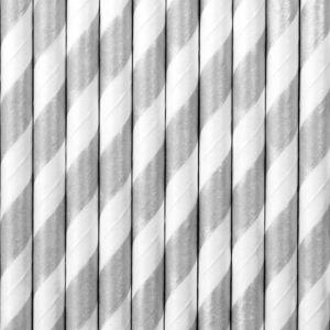 papír szívószál (10 db/cs) – csíkos, ezüst