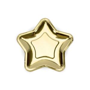 papír tányér (6 db/cs) – csillag alakú, arany