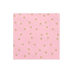 szalvéta 33x33 cm 3 rétegű (20 db/cs) – arany csillagos, rózsaszín