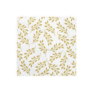 szalvéta 33x33 cm 3 rétegű (20 db/cs) – arany levél mintás
