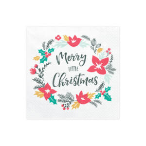 szalvéta 33x33 cm 3 rétegű (20 db/cs) – Merry Christmas koszorú