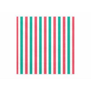 szalvéta 33x33 cm 3 rétegű (20 db/cs) – piros és zöld csíkos