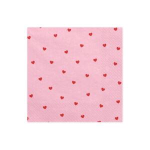 szalvéta 33x33 cm 3 rétegű (20 db/cs) – rózsaszín alapon szíves