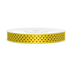 12 mm széles pöttyös szatén szalag (25 m) – citromsárga