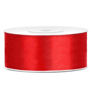 25 mm széles szatén szalag (25 m) – piros