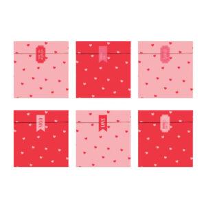 papírzacskó (6 db/cs) – szív mintás, Valentin