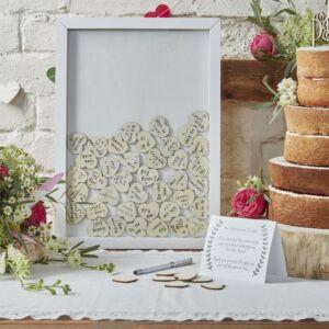 esküvői vendégkönyv (alternatív) – fakeret szívekkel